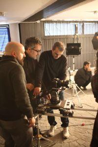 Con David Garcia y Jordi Carbonell, haciendo unas pruebas de travelling. (Fotografía de Patrici Pérez).
