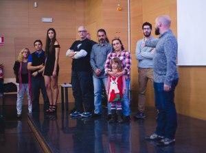 Los miembros del equipo que pudieron acudir. (De izq. a der. : Olga Fornas, Lluis Espuis, Carla Espuis Fornas, Patrici Pérez, Xavi Cano, Jordi Carbonell, Pepa Mayo, Darla Mourin, Antonio Clemente, y yo).